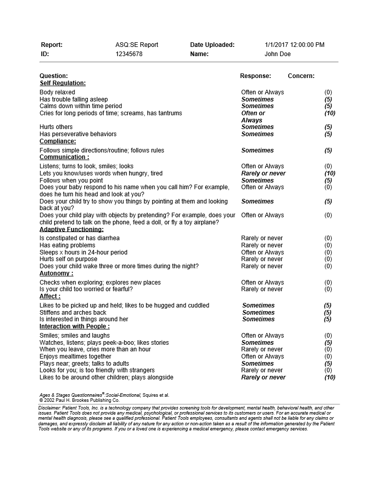 ASQ:SE-2 Clinical Report Page - 2