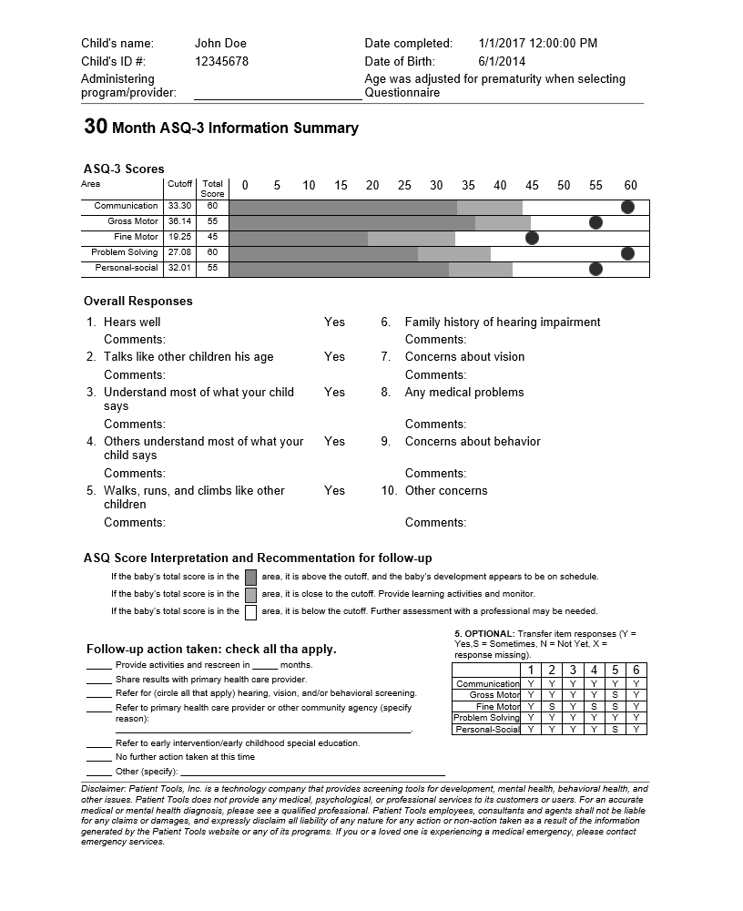 ASQ-3 Information Summary Report